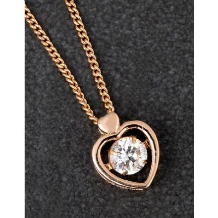Plated with Rose Gold Tumbling Crystal Heart Necklace